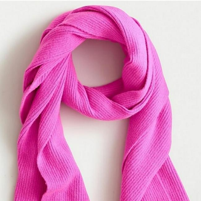 Item - Neon Berry Ribbed Supersoft Yarn Ribbed Scarf. Scarf/Wrap