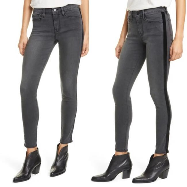 Item - Grey Medium Wash Le De Jeanne Velvet Tuxedo Stripe High Rise Stretch Skinny Jeans Size 31 (6, M)
