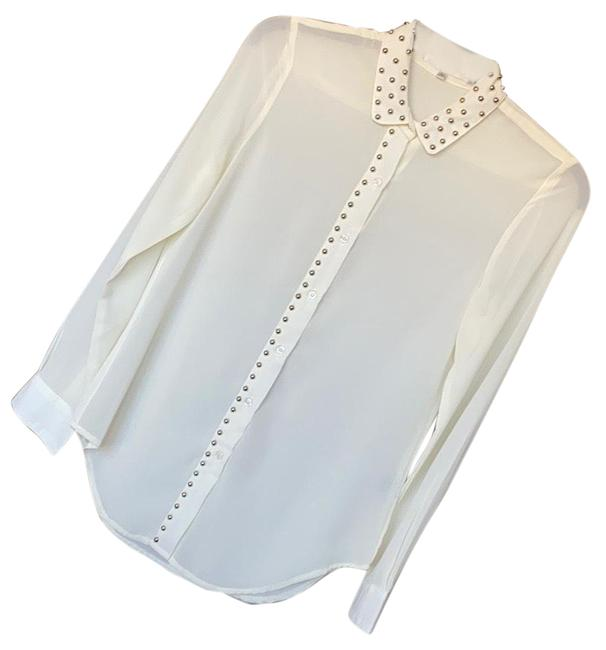 Item - Ivory Studded Sheer Button Up Button-down Top Size 8 (M)