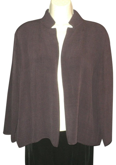 Item - Maroon Open Front Crinkled Rayon & Silk Stand Up Collar Or Notched Blazer Size 6 (S)