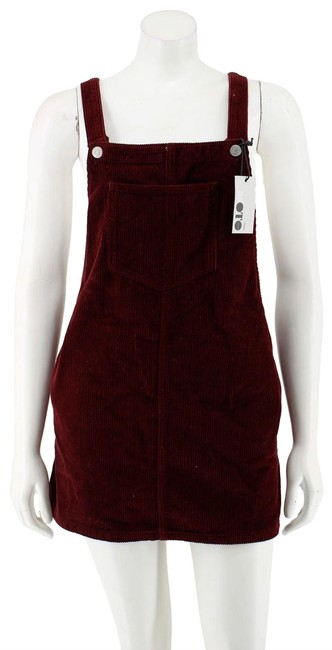 Item - Red Petite Oxblood Cotton Corduroy Skirt Overalls Short Casual Dress Size 4 (S)