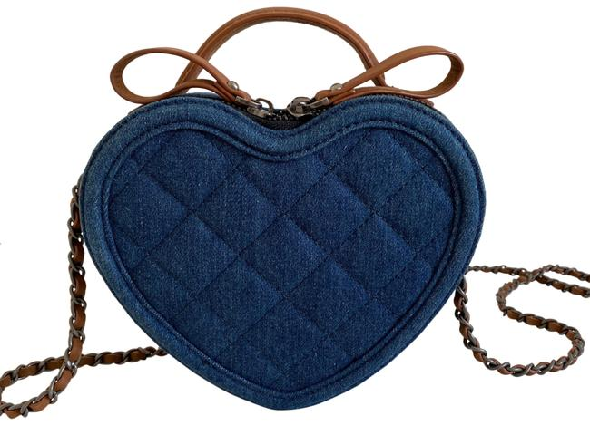 Item - Quilted Heart Blue Denim Cross Body Bag