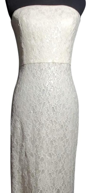 Item - Cream Strapless Evening Sequence Gown Long Formal Dress Size 4 (S)