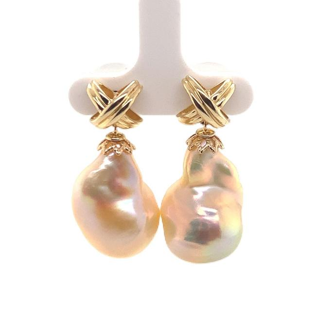 Item - Whitish Orange Freshwater Pearl 14k Yellow Gold 25 Mm Certified Earrings