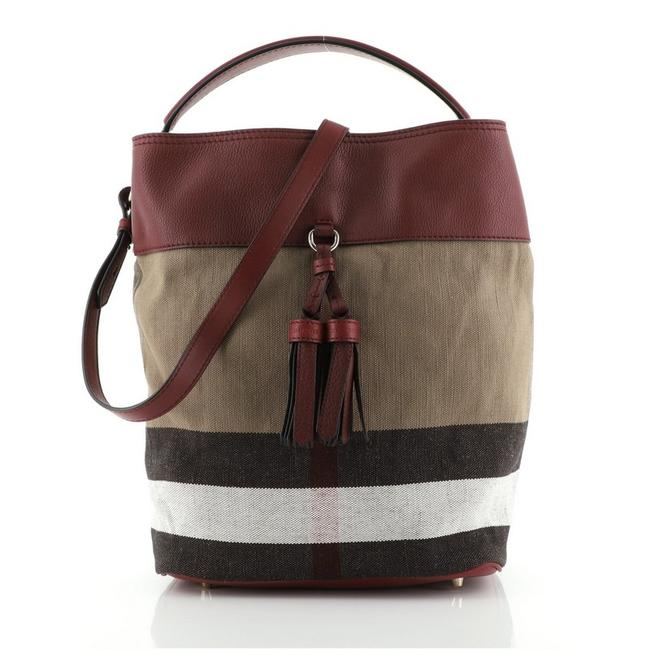 Item - Ashby Tassel Convertible House Check with Medium Brown Print Red Canvas Plain Leather Satchel