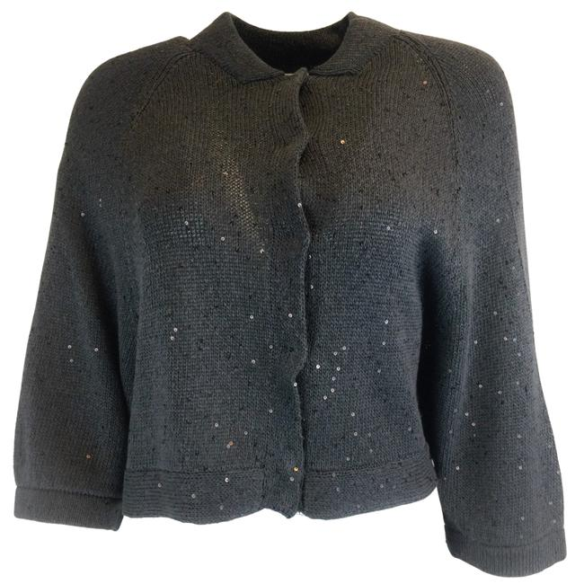 Item - Sequined Cotton Cardigan Charcoal Grey Sweater