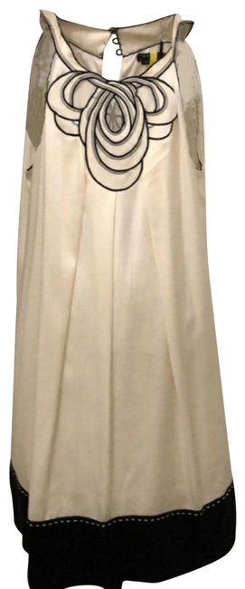 Item - Ivory and Black High Neck Embroidery 100%silk Short Cocktail Dress Size 8 (M)