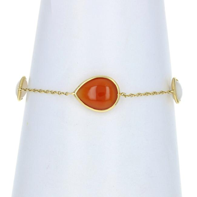 Item - Yellow Gold Orange Chalcedony & Mother Of Pearl Station Bracelet