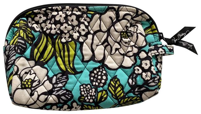 Item - Blue Green White Black Floral Cosmetic Bag