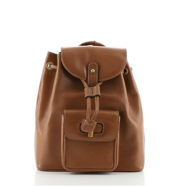 Item - Vintage Bamboo Mini Brown Leather Backpack