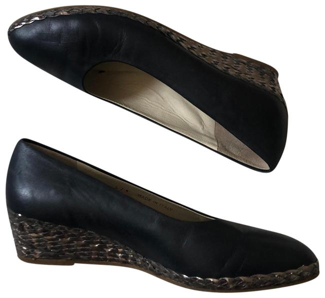 Item - Blue Womens Leather Heels Made In Italy Wedges Size EU 37.5 (Approx. US 7.5) Regular (M, B)