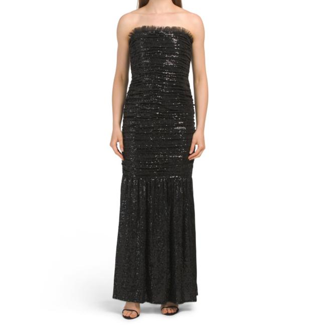 Item - Black New Ruched Sequin Strapless Long Cocktail Dress Size 10 (M)