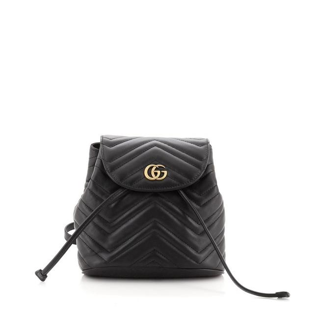 Item - Drawstring Marmont Gg Matelasse Mini Black Leather Backpack