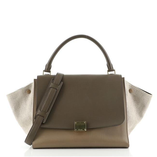 Item - Trapeze With Medium Multicolor Canvas and Leather Satchel