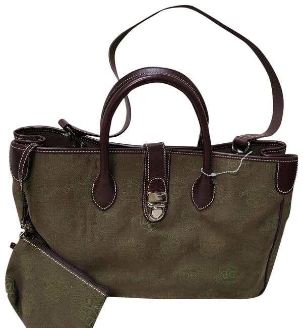 Item - Double Handle Green and Brown Canvas Tote
