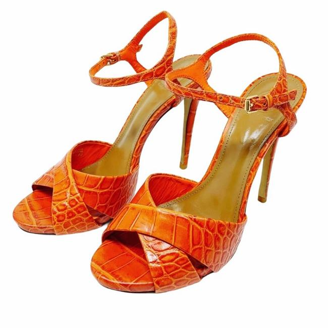 Item - Orange Croc Embossed Peep-toe Sandals Size US 8 Regular (M, B)