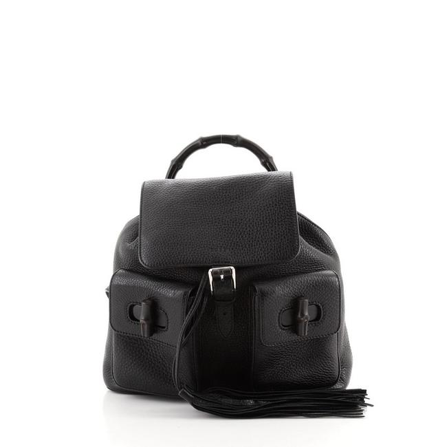 Item - Bamboo Tassel Medium Black Leather Backpack