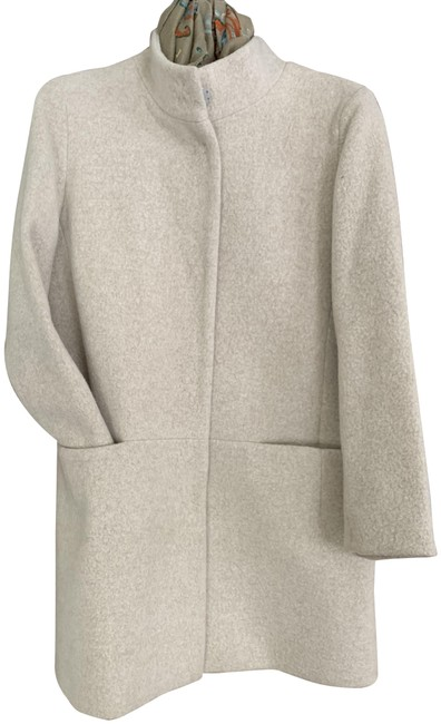 Item - Oatmeal Hidden Snap Front Tailored Wool Coat Size 10 (M)