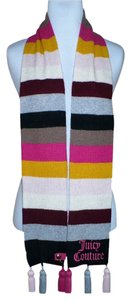 Juicy Couture Rainbow Stripe Wool Blend Pom Pom Scarf