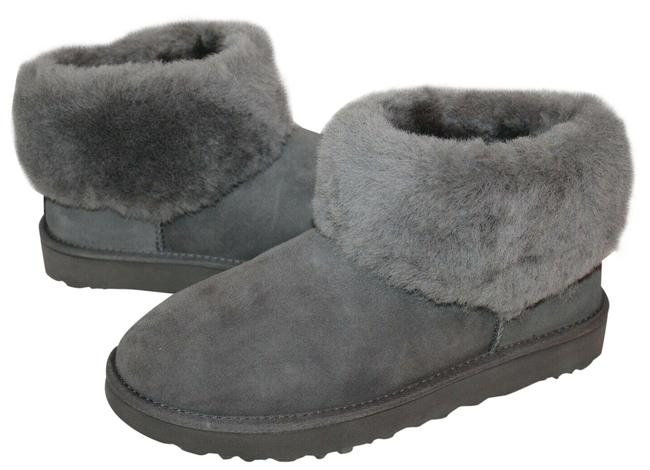 Item - Gray Mini Cuff Suede Shearling Boots/Booties Size US 8 Regular (M, B)