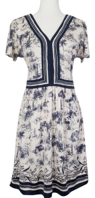 Item - Blue and White Toile De Jouy Short Work/Office Dress Size 8 (M)