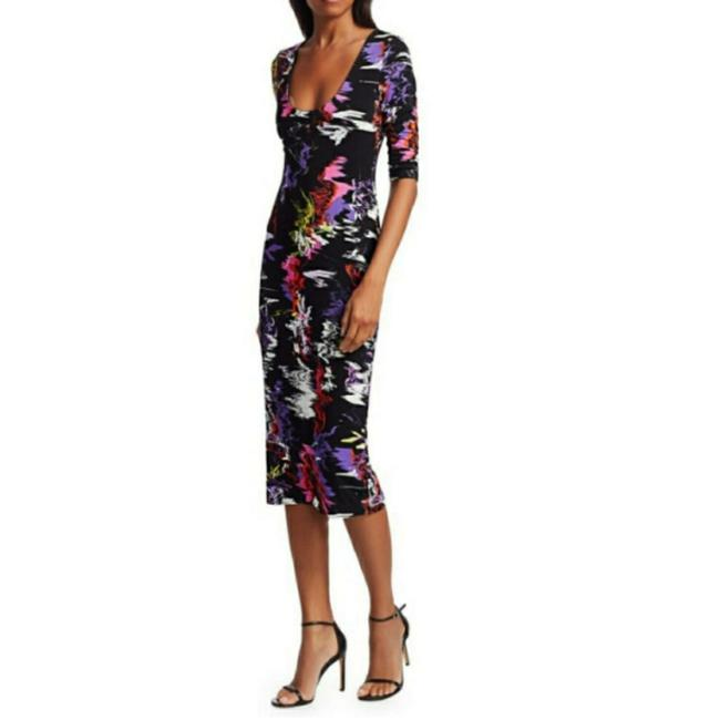 Item - Black Multicolored Delora Abstract Bodycon Mid-length Cocktail Dress Size 0 (XS)