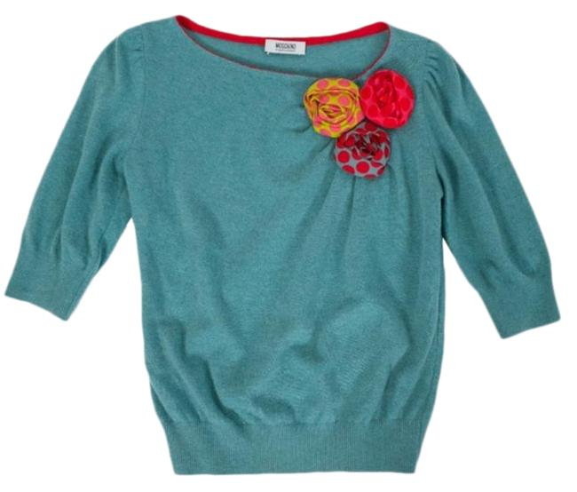 Item - Whimsical Floral Embellished Turquoise Sweater