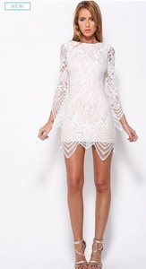 Angel Biba Lace High Neck Low Back Zipper Long Sleeves Dress