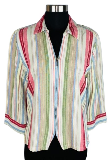 Item - Red Blue Zippered Striped Linen Blend Blouse Size 8 (M)