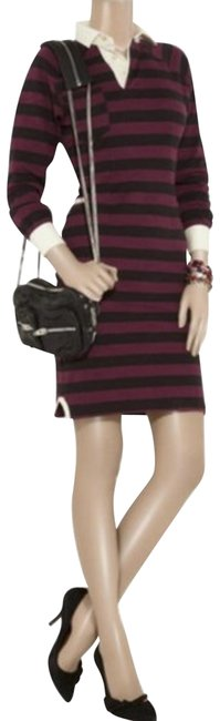 Item - Red Black Grady Striped Long Sleeve Polo Mini Short Casual Dress Size 8 (M)