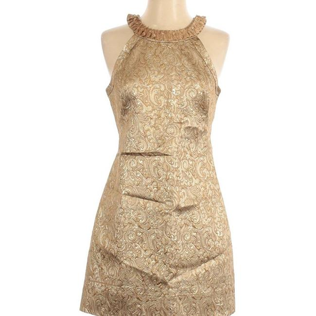 Item - Gold Metalcocktail with Pocket Short Casual Dress Size 2 (XS)