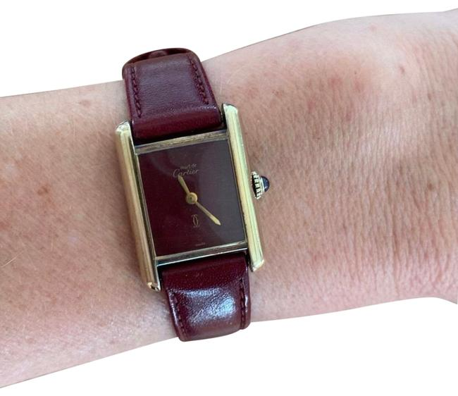 Item - Burgundy Vintage Gold Plated Manual Tank Ladies Leather Sterling Silver Band Wristwatch Timepiece Bracelet Watch