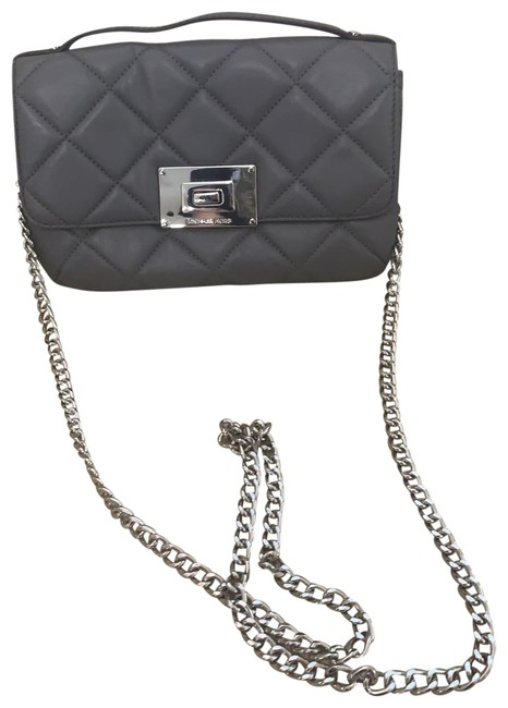 Item - Messenger Quilted Grey and Silver Leather Cross Body Bag