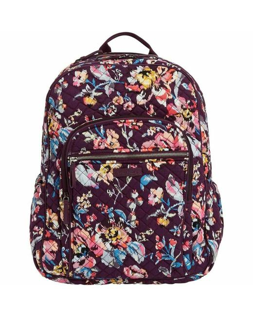 Item - Iconic Campus Floral Purple Cotton Backpack