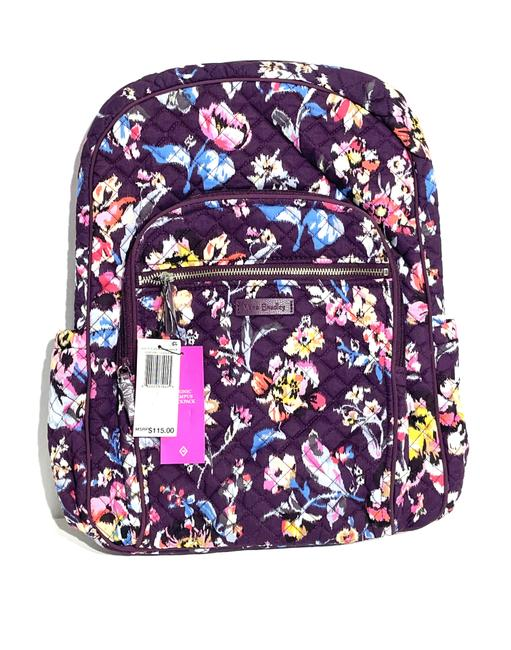 Vera Bradley Iconic Campus Floral Purple Cotton Backpack Vera Bradley Iconic Campus Floral Purple Cotton Backpack Image 3