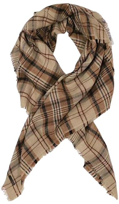 Item - Toffee Woven Plaid Square Scarf/Wrap