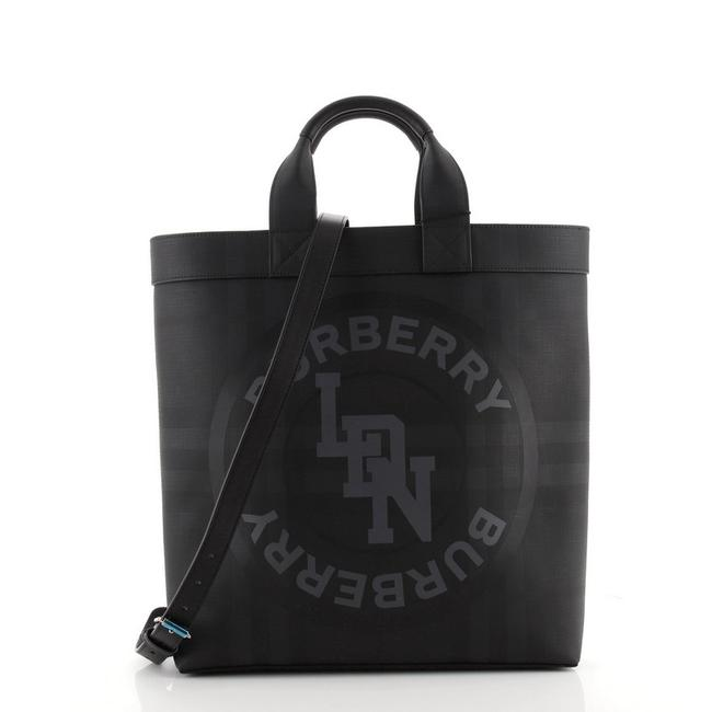 Item - Logo Graphic Convertible London Check Coated Large Black Canvas Tote