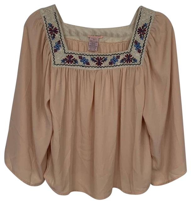 Item - Cream Embroidered Square Neck Small Blouse Size 6 (S)