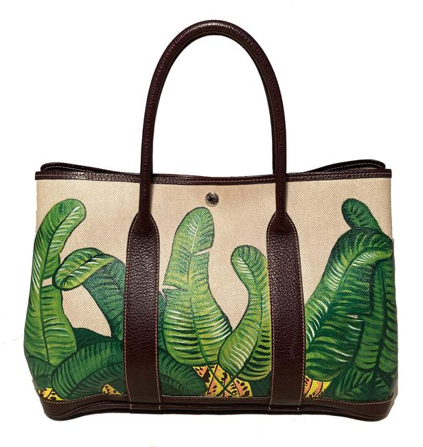 Item - Garden Party Hand Painted Banana Leaf 35 Beige Canvas Tote