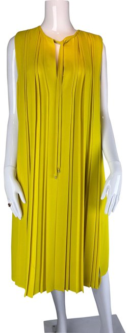 Item - Yellow Dvf Pleated Mid-length Cocktail Dress Size 12 (L)