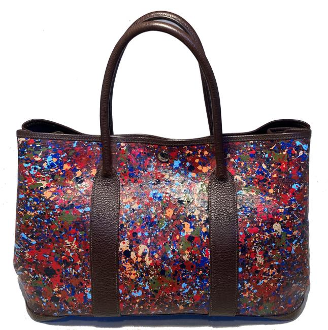 Item - Garden Party Hand Painted 35 Multicolor Canvas Tote