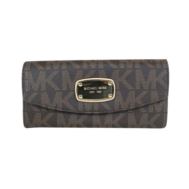Item - Brown Clutch Jet Set Signature Slim Flap Wallet