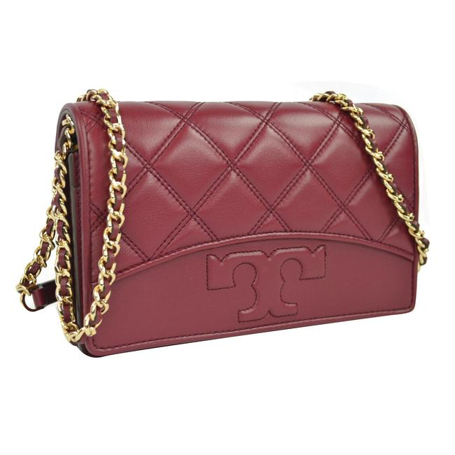 Item - Quilted Chevron Dark Red Leather Cross Body Bag