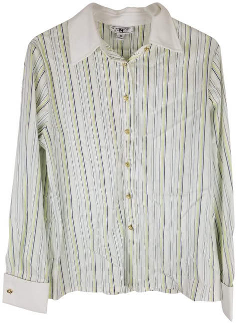 Item - White Marie Gray Button Up Green Navy Stripe Dress Shirt Button-down Top Size 6 (S)