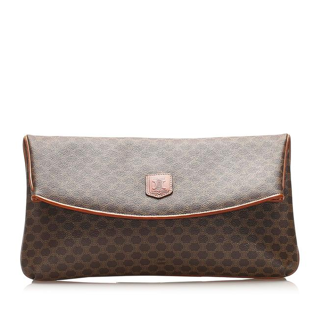 Item - Macadam Coated Canvas Brown Leather Clutch
