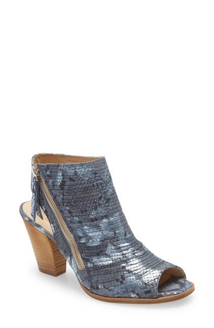 Item - Denim Snake Print Cayanne Peep Toe Sandal (Ts7) Boots/Booties Size US 8.5 Regular (M, B)