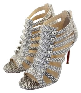 Christian Louboutin Snakeskin Leather Cage Peep Toe Strappy Stiletto Pump White and Grey Sandals