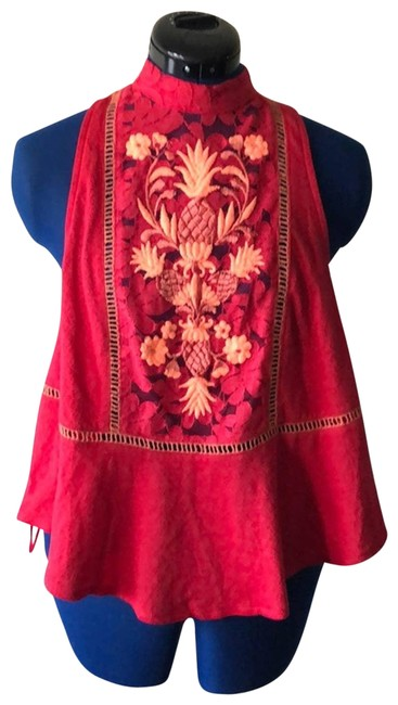 Item - Red Embroidered Tank Top/Cami Size 4 (S)