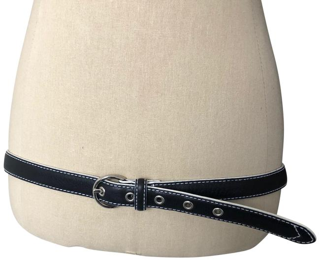 Item - Black and White Pebbled Leather Stitch Accent Belt