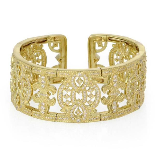 Item - #65941 Lovely 3.00ct Diamond 18k Yellow Gold Fleur De Lis Wide Cuff Bracelet